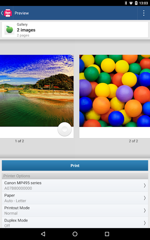 Android Printer 2 Go Screen 8