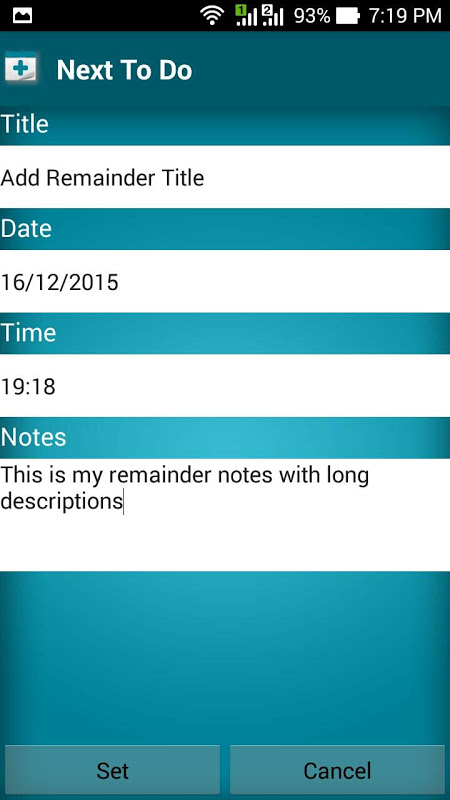 Next To Do Reminder 2.3 Screen 2