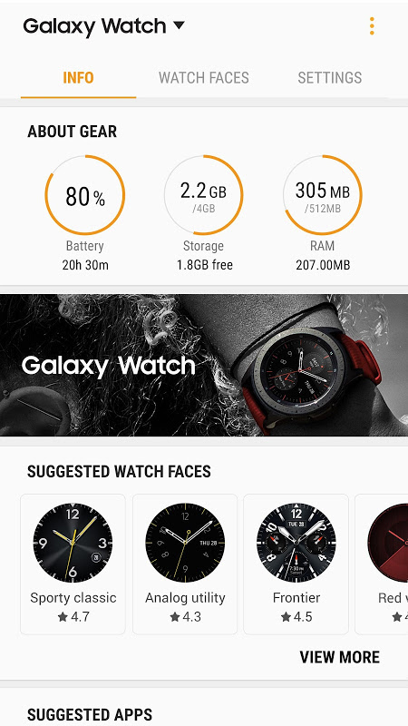 Android Galaxy Wearable (Samsung Gear) Screen 2