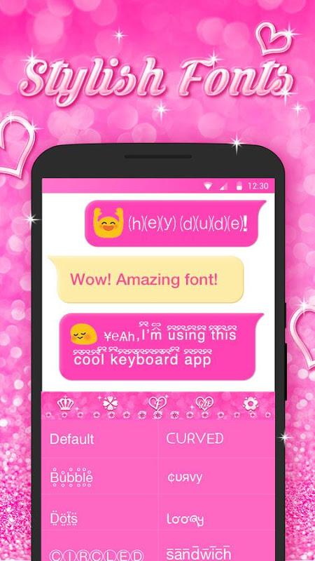 Android Best Keyboard Theme - Free Pink Love Emoji & Gif Screen 2