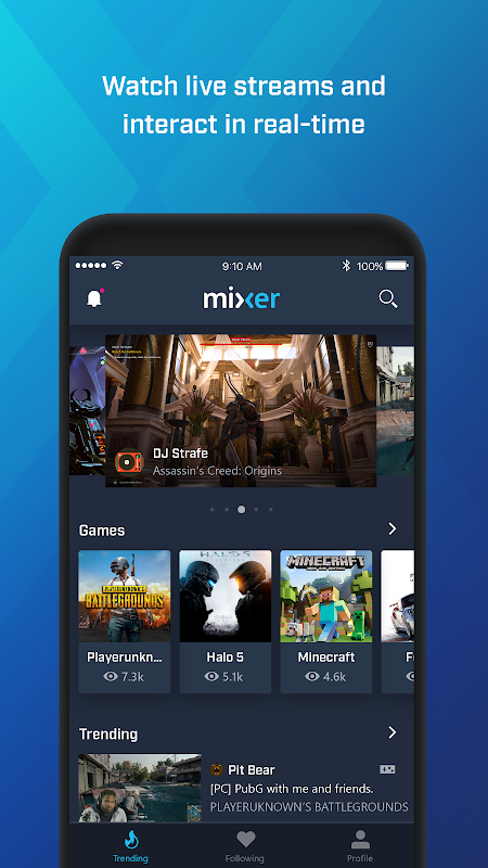 Mixer – Interactive Streaming 3.4.1 Screen 1
