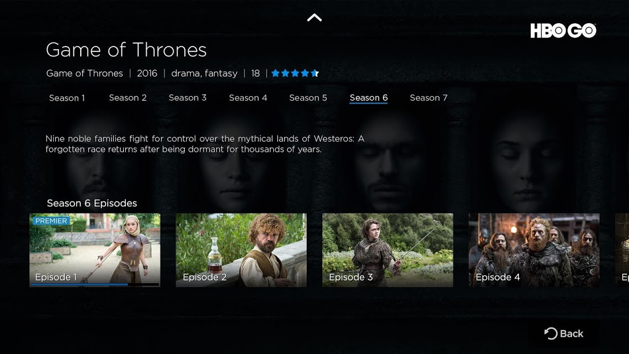 Android HBO GO - Android TV Screen 1