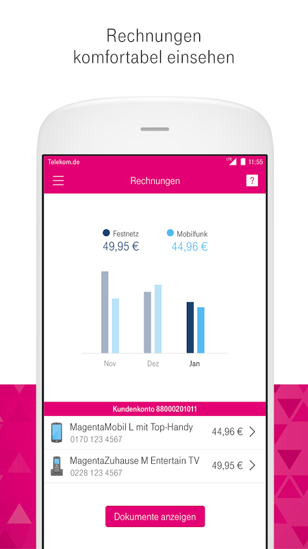 Android MagentaSERVICE Screen 1