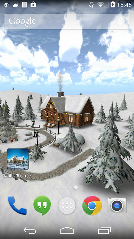 Android Winter 3D, True Weather Screen 1