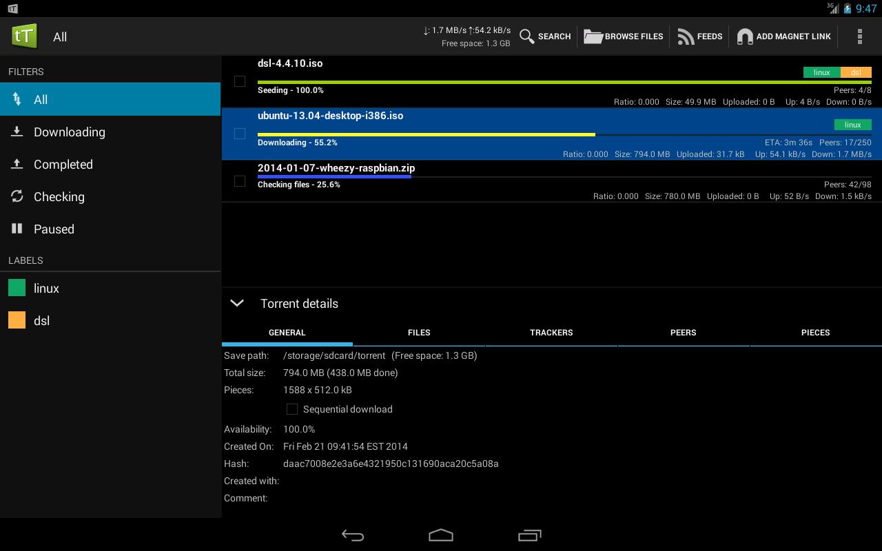 Android tTorrent Pro - Torrent Client Screen 4