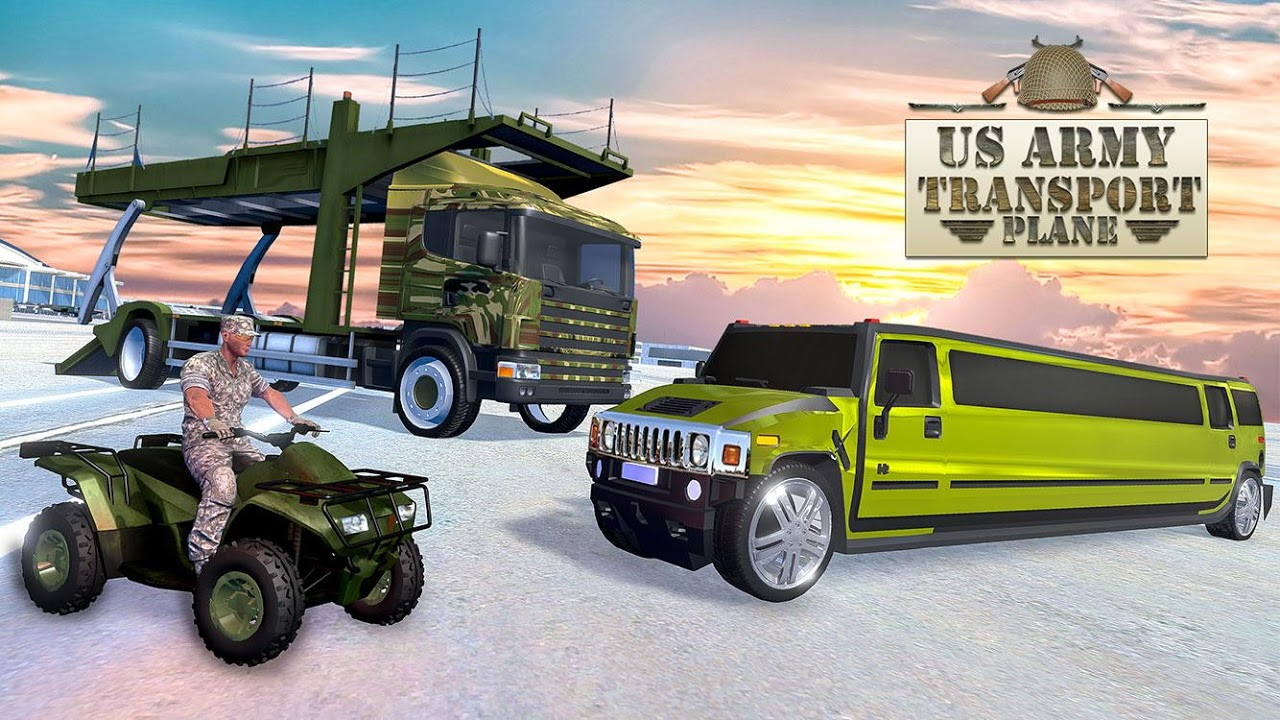 Android US Army ATV Quad Bike & Limo Car Plane Transporter Screen 9