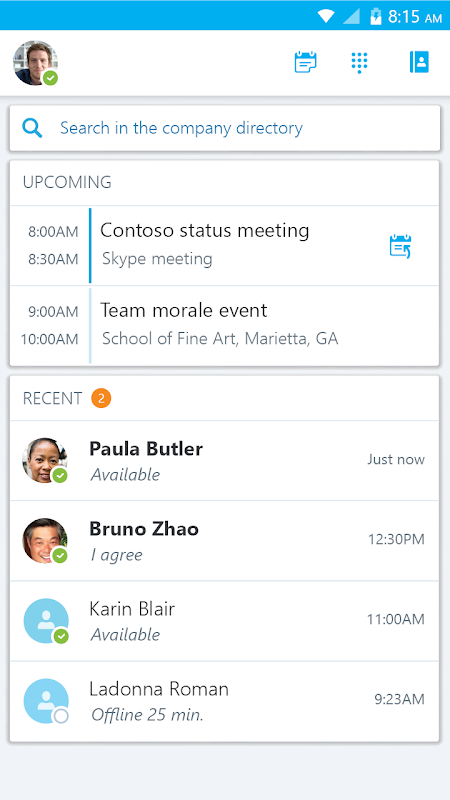 Android Skype for Business for Android Screen 3