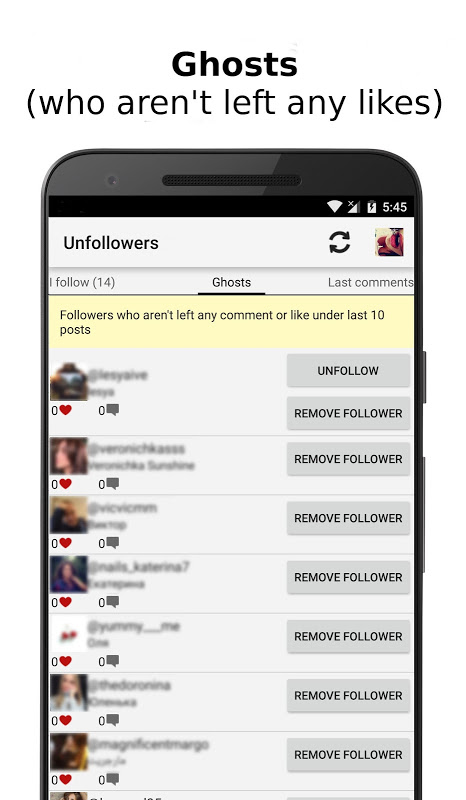 Unfollowers for Instagram 2.6.9 Screen 1