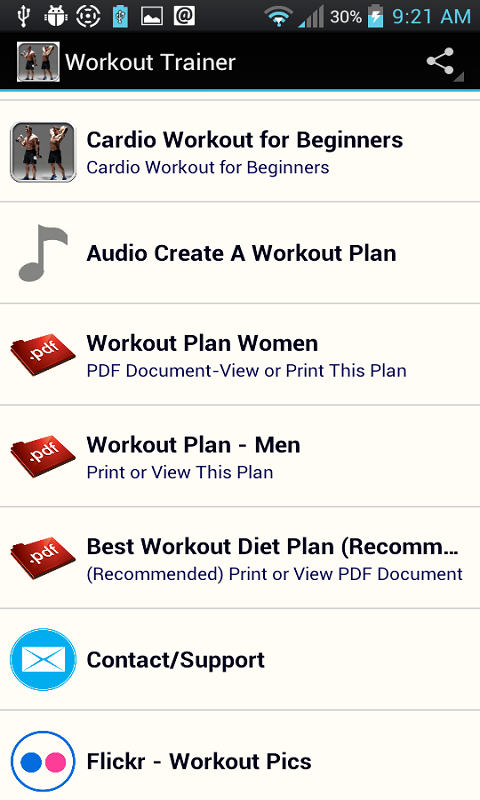 Android Workout Trainer Screen 3
