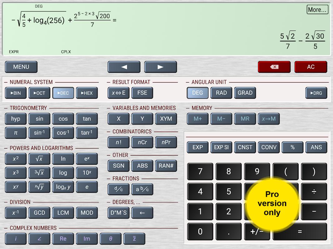 HiPER Scientific Calculator 6.1 Screen 9