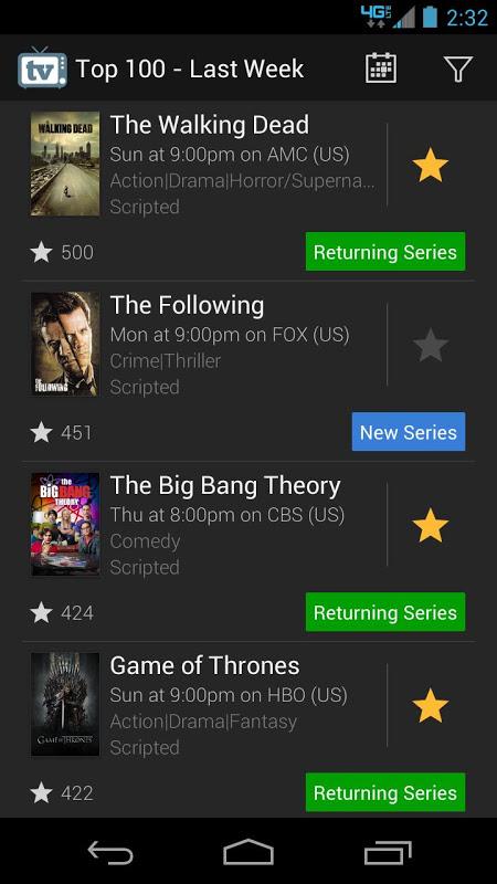 Android TV Show Favs Screen 3