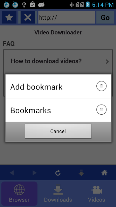 Android Video downloader Screen 2