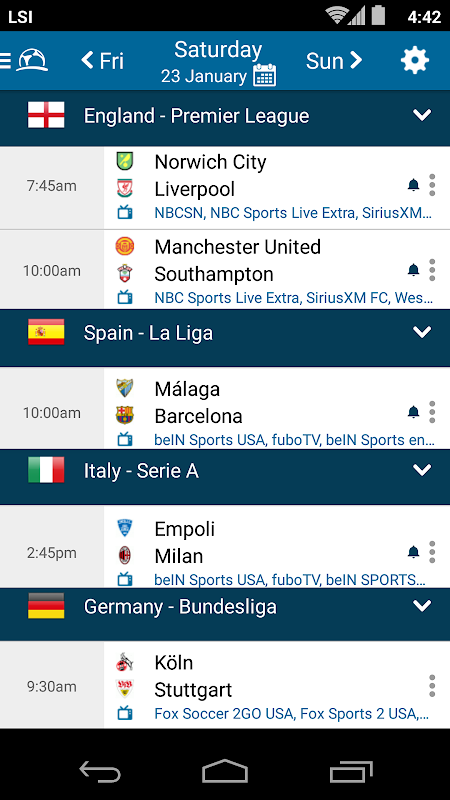 Live Football TV Schedules App 4.1.3.4 Android Screen 4