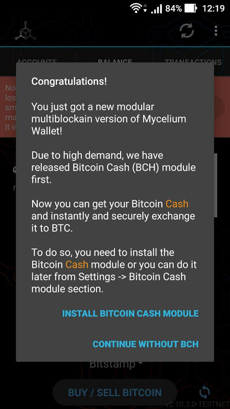 Mycelium Bitcoin Cash Module 3.0.9.5 Screen 1