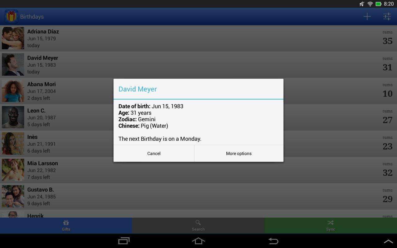 Birthdays for Android 3.4.11 Screen 1