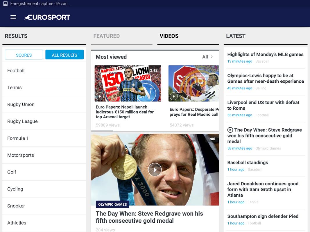 Android Eurosport Screen 7
