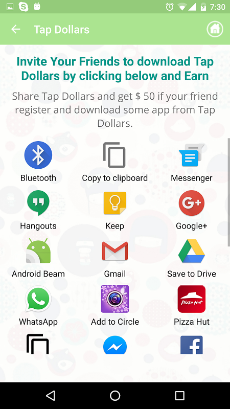 Android Tap Dollars Screen 1