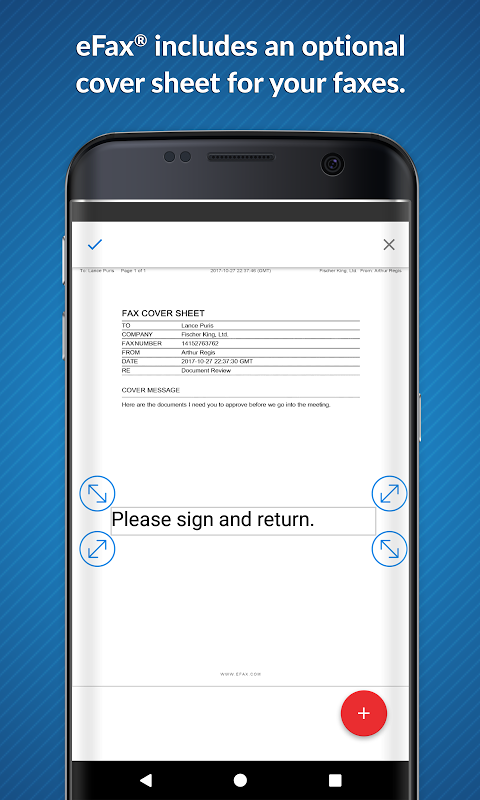 Android eFax – Send Fax From Phone Screen 1