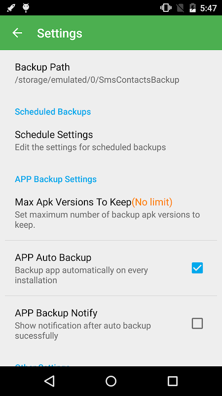 Android Super Backup & Restore Screen 4
