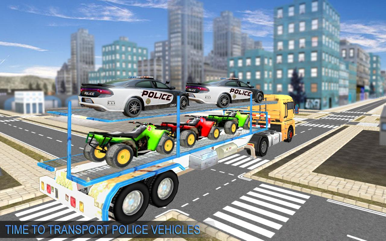 US Police Moto ATV Quad Bike Transporter Game 1.0 Screen 2