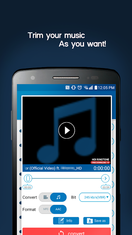 Android MP3 Video Converter Screen 1