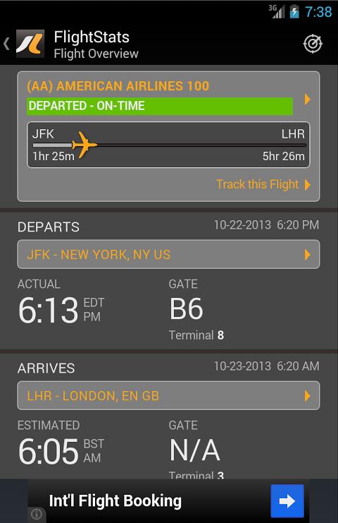 FlightStats 2.0.5 Screen 2