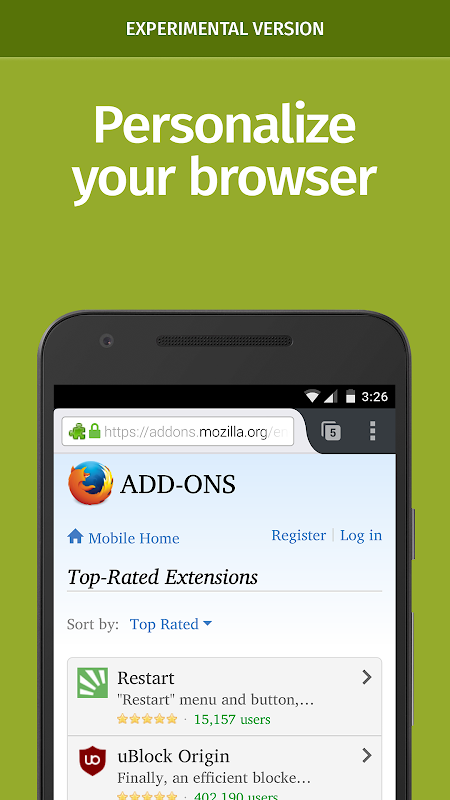 Android Firefox Nightly for Developers (Unreleased) Screen 1