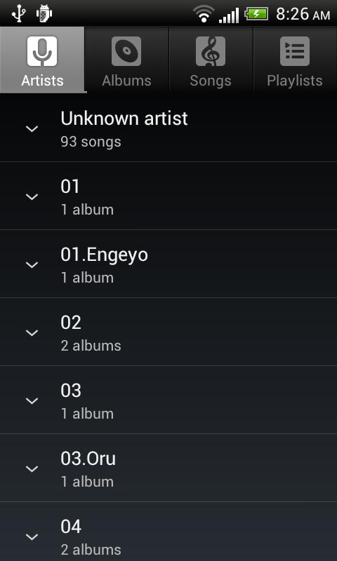 Default Music Player 10.0 Screen 1