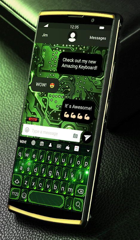 Android Green Light Animated Keyboard + Live Wallpaper Screen 1