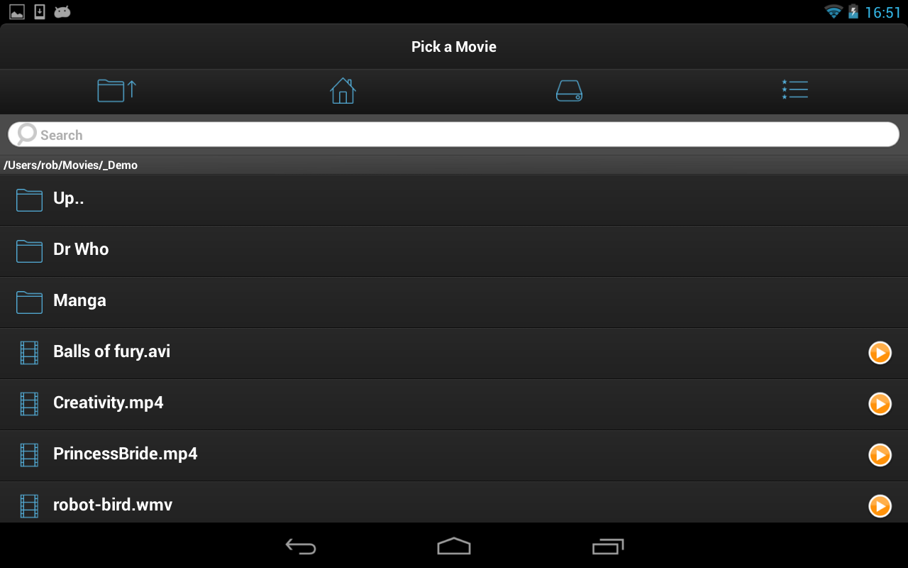 Android VLC Streamer Free Screen 1