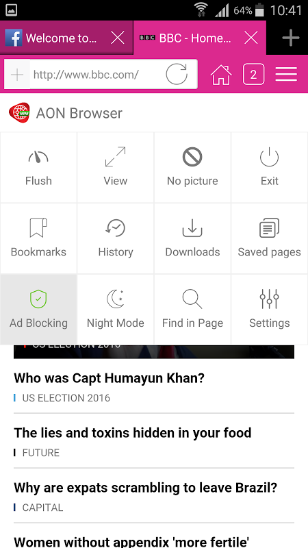 Android Aon Browser, Adblock Mini Screen 3
