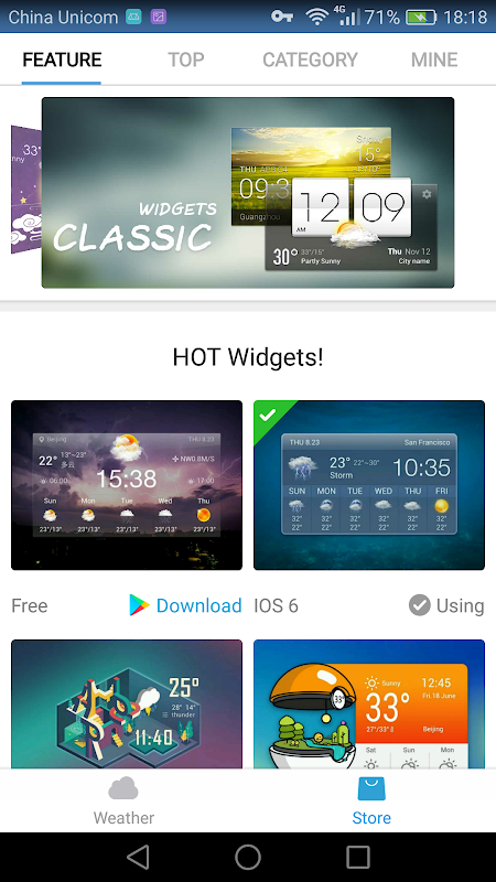 Android weather widget with  wind Screen 6