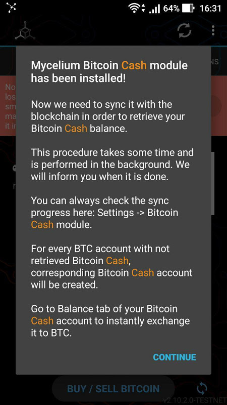 Mycelium Bitcoin Cash Module 3.0.9.5 Screen 4