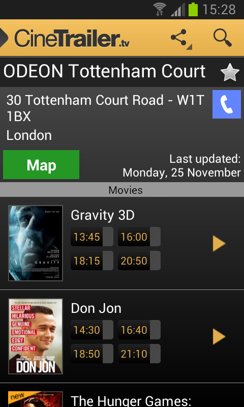 Android CineTrailer Cinema & Showtimes Screen 16
