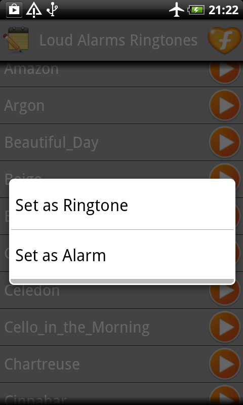 Android Loud Alarms Ringtones Screen 1