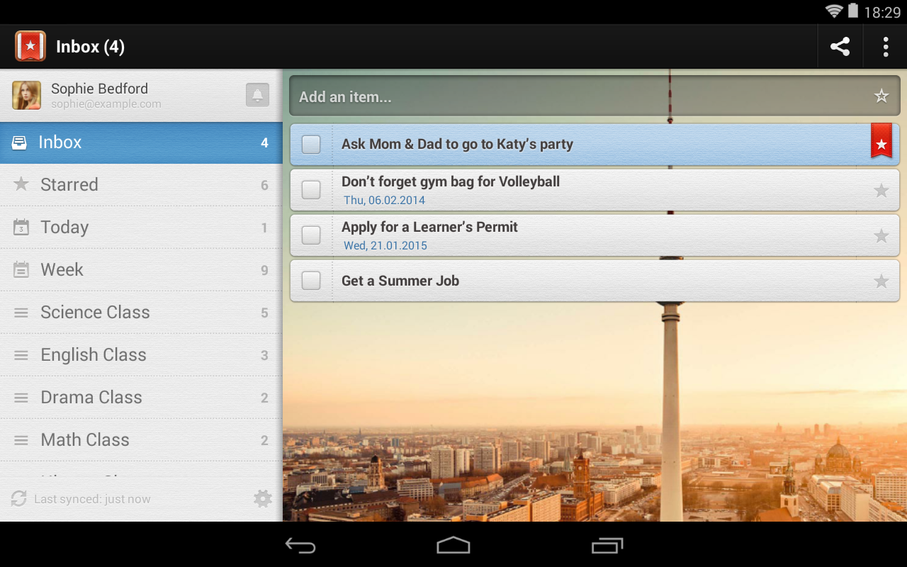 Android Wunderlist for Education Screen 3