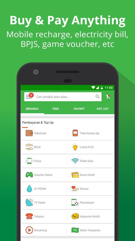Android Tokopedia - Online Shopping, Pulsa & Payment Screen 1
