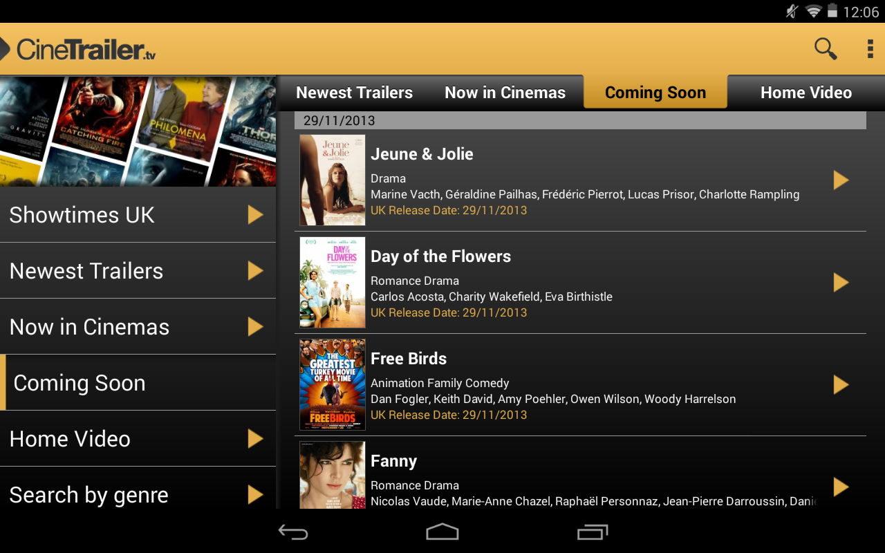 Android CineTrailer Cinema & Showtimes Screen 7