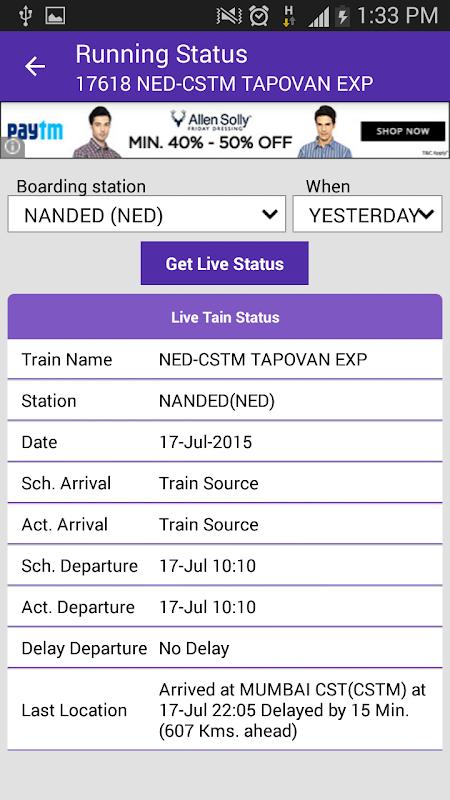 Live Train Status 29.0 Screen 2