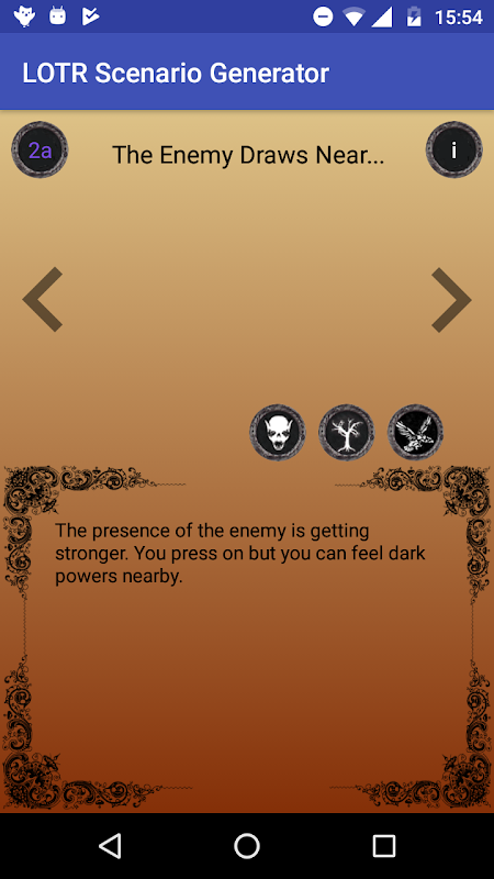 Android LOTR Scenario Generator Screen 1