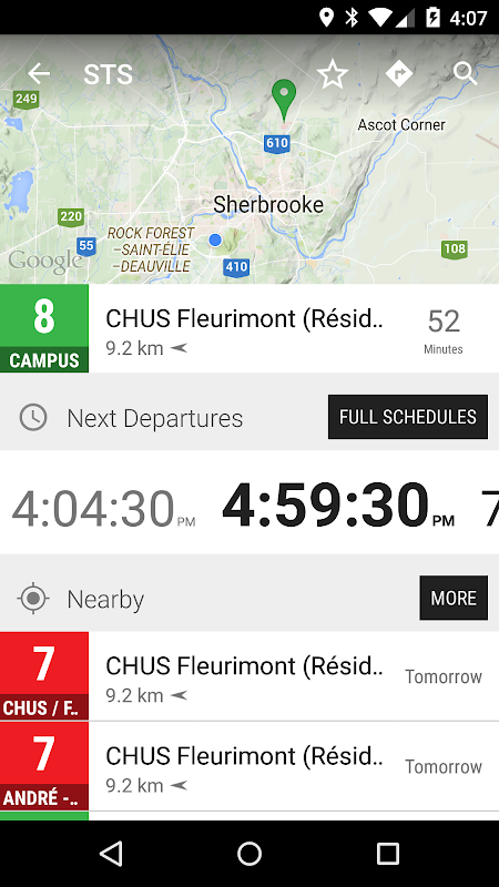 Android Sherbrooke STS Bus - MonTransit Screen 1