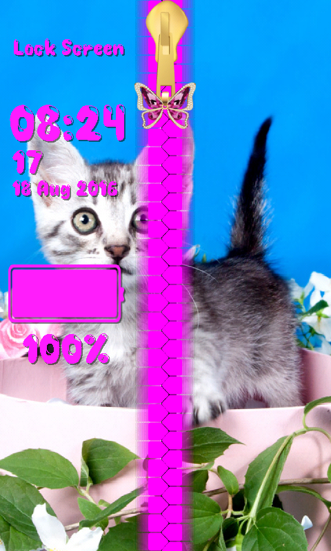 Android Kitty Zipper Lock Screen Screen 5