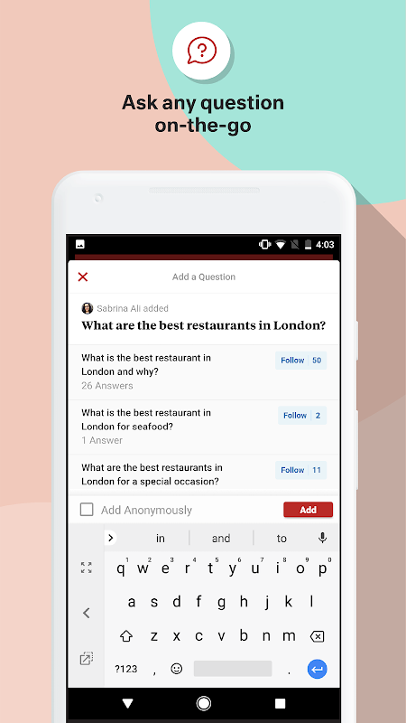 Quora 2.7.28 Screen 2