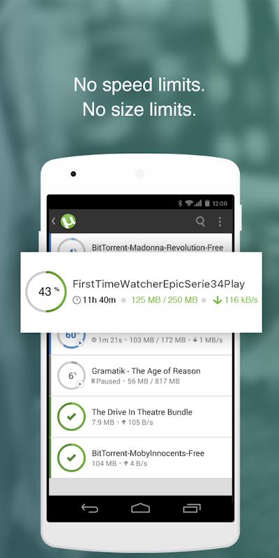 Android ŒµTorrentŒ¬- Torrent Downloader Screen 1