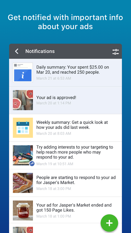 Android Facebook Adverts Manager Screen 5
