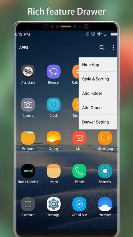 Android Note 8 Launcher - Galaxy Note8 launcher, theme Screen 3