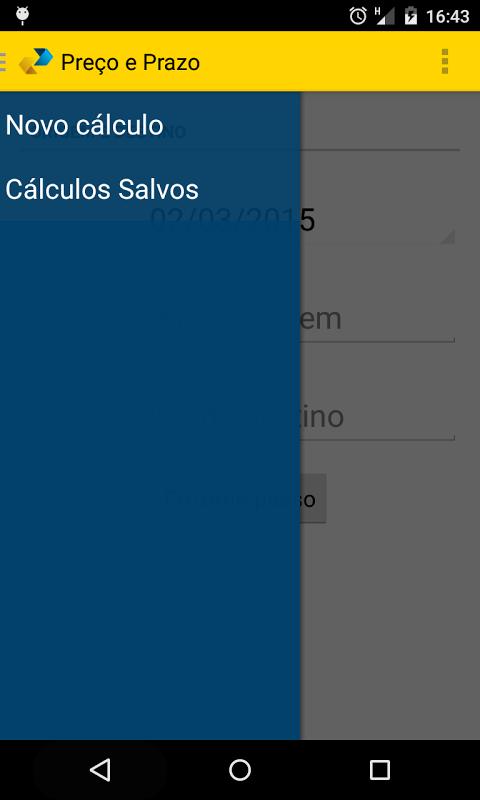 Android Cálculo Preço e Prazo Correios Screen 1