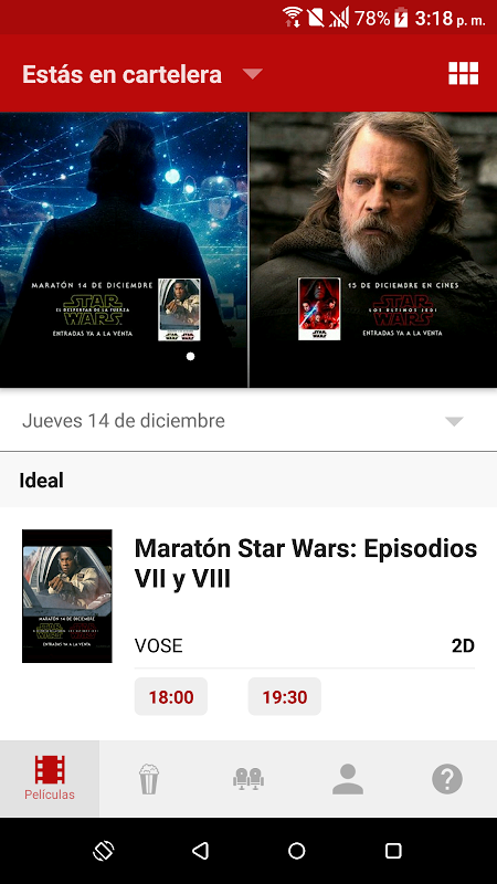 Android Yelmo Cines App Screen 1