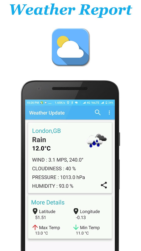 Android Weather Report Screen 1