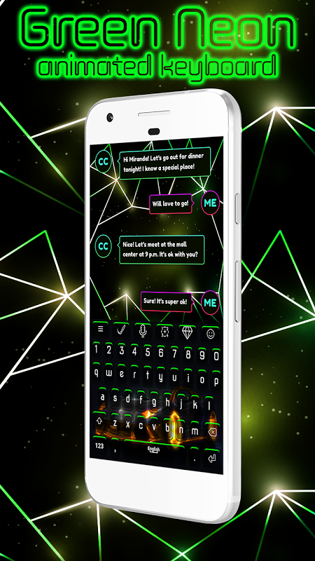 Android Green Neon Animated Keyboard Screen 1